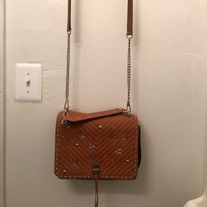 Chevron Quilted Love Crossbody - BROWN w/ Studs